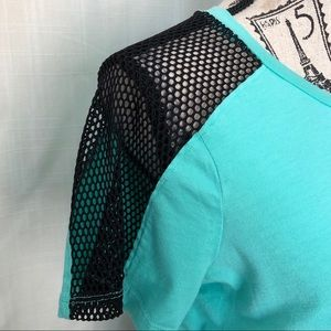 BOGO! VS PINK turquoise crop, black mesh shoulders
